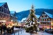 Weihnachtsmarkt Schiltach am Rathausplatz mit Weihnachtsbaum