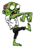 Cartoon zombie with exposed brain