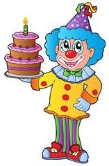 Cartoon clown with cake