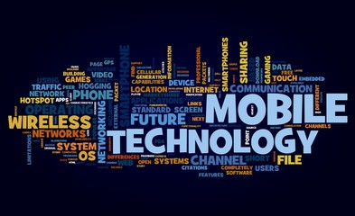 Mobile technology concept in tag cloud