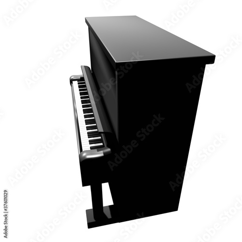 3D Piano icon side view isolated on white background