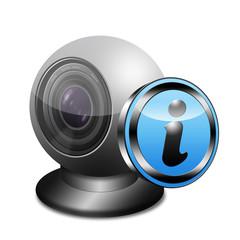 Icono webcam 3D con señal informacion