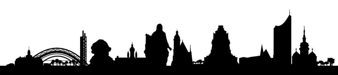 Leipziger Skyline mit Goethe/Bach-Statue
