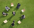 Business people having meeting outdoors