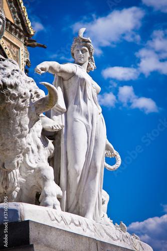 Albert Memorial, Kensington, London: detail of America