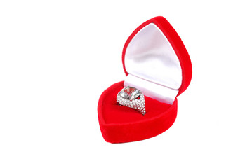 marrige ring in red case isolated on white