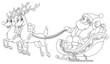 Outlined Santa sleigh