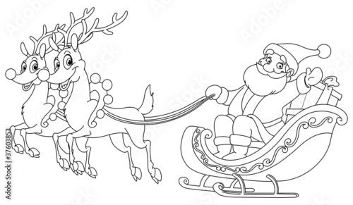 Outlined Santa sleigh - 37603853