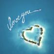 Leinwanddruck Bild - love message on the water