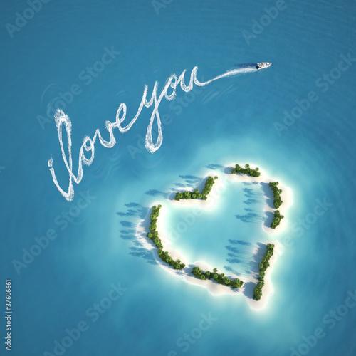Leinwanddruck Bild love message on the water