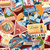 Vintage travel stickers seamless pattern poster