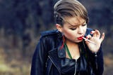 blond hipster girl with leopard haircut smoking cigarette alone poster