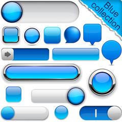 Blue high-detailed modern buttons.