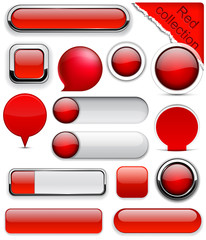 Red high-detailed modern buttons.