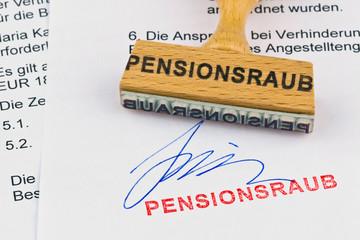 Holzstempel auf Dokument: Pensionsraub