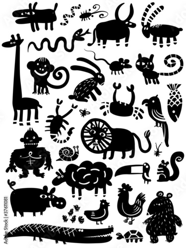 domestic and wild  animal icon set
