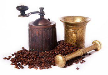 Coffee grinder and brass mortar