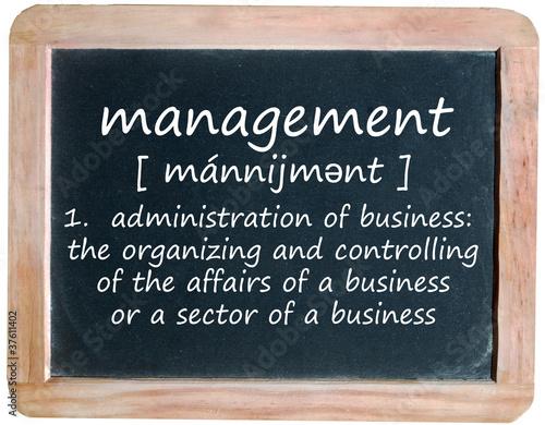 MANAGEMENT Definition on Blackboard (team company business)