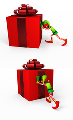 Elf with gift box
