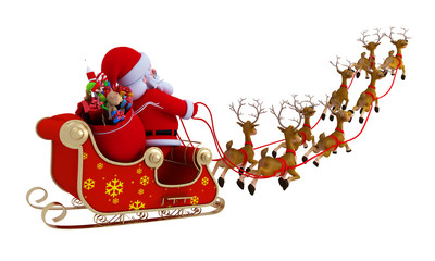santa with sleigh