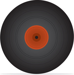 Vinyl record isolated with small shadow