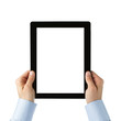 Human hands holding large digital tablet with clipping path
