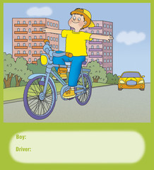 boy rides a bicycle, whether it is right?