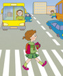 girl goes across the road