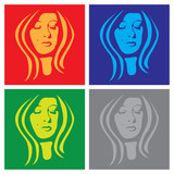 young woman face in popart poster