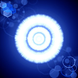 Abstract blue radiance background with lens flare poster