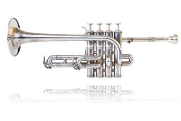 Silver golden piccolo trumpet four valves isolated background