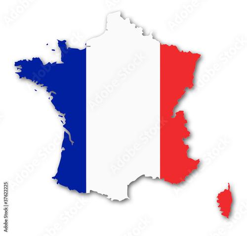frankreich karte fahne schatten france map