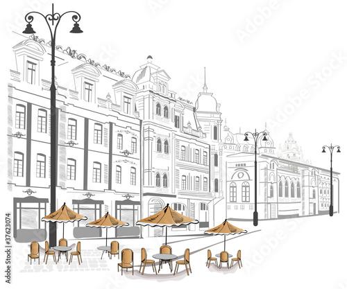 Seria street cafe w szkicach