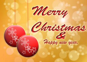 Felicitación navideña con esferas de navidad.