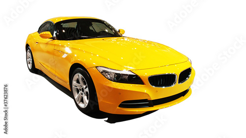 Fotobehang Snelle auto s Yellow car , international auto show