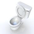 3D Toilette offen Draufsicht