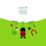 Card Hanging Ladybug & Symbols New Year´s Eve poster