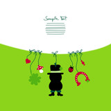 Card Hanging Chimney Sweeper & Symbols New Year´s Eve poster