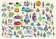 Color Doodle Space Set Vector Illustration Set