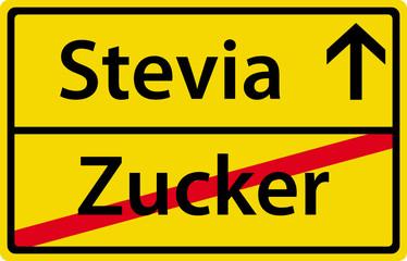 Stevia anstatt Zucker Schild Zeichen Symbol Ortsausgang