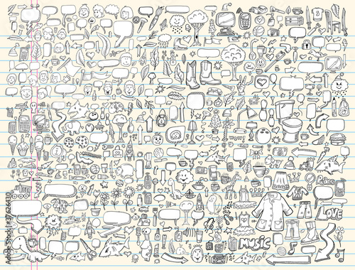 Doodle Sketch Design Elements Vector Set