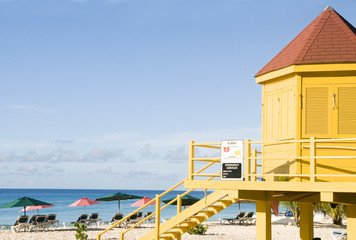colorful lifeguard station Dover Beach Barbados St. Lawrence Gap