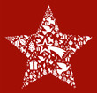 Christmas icon set in star shape