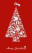 Christmas icon set in tree shape with star