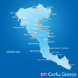 Island of Corfu in Greece map