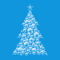 blue christmas tree bubbles
