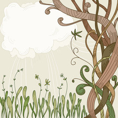 Abstract fantasy tree and plant background