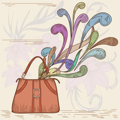 Woman bag with abstract element