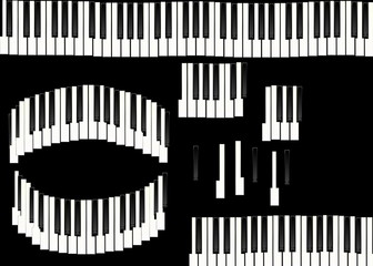 piano keys isolated on black background, texture