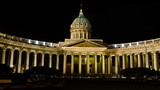 The Kazan Cathedral in St. Petersburg at night, Russia